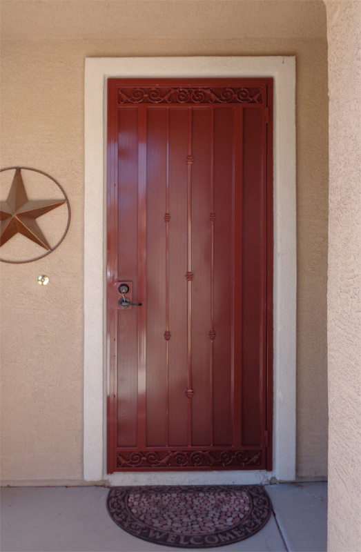 Traditional Security Door - Item Santiago SD0009_Burgundy Wrought Iron Design In Las Vegas