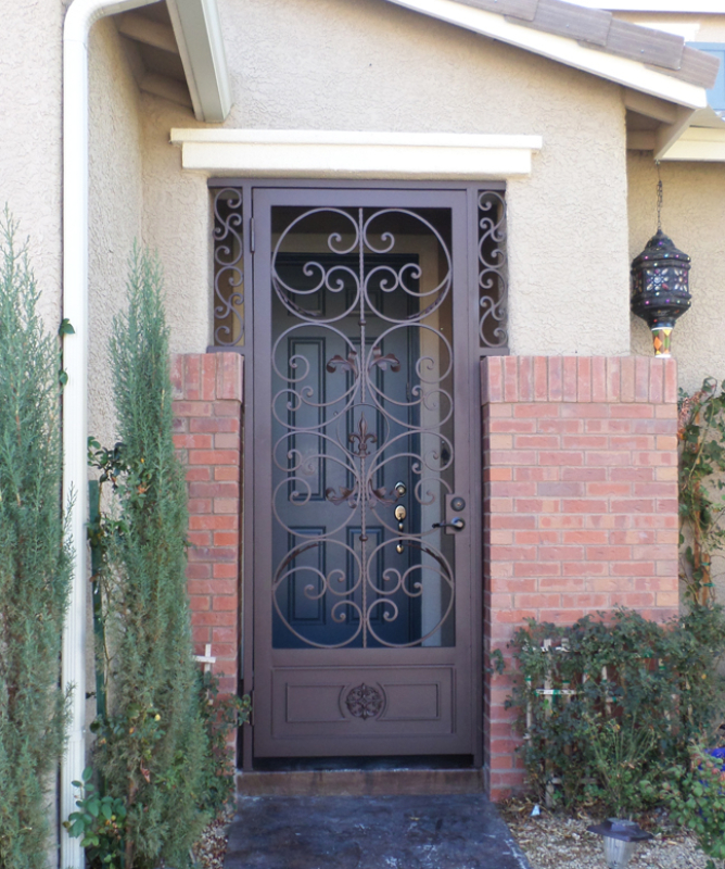 Traditional Toulouse Entryway Door - Item EW0451 Wrought Iron Design In Las Vegas