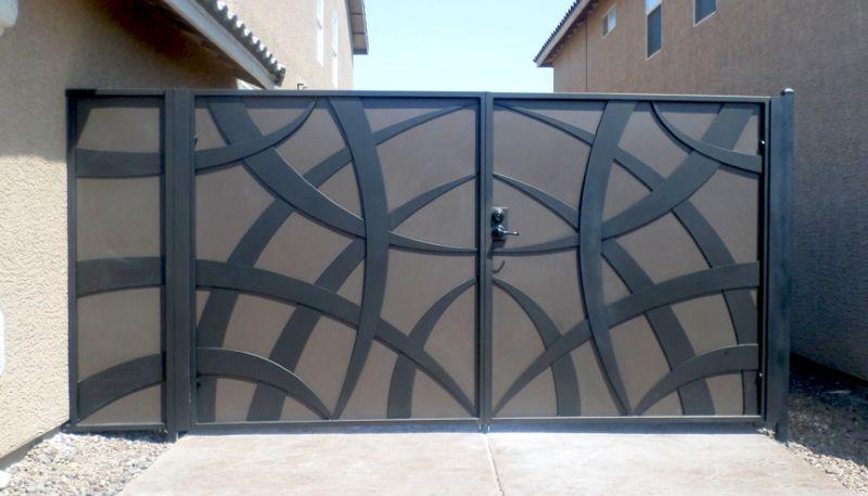 Modern Double Gate - Item TunisaDG0346 Wrought Iron Design In Las Vegas
