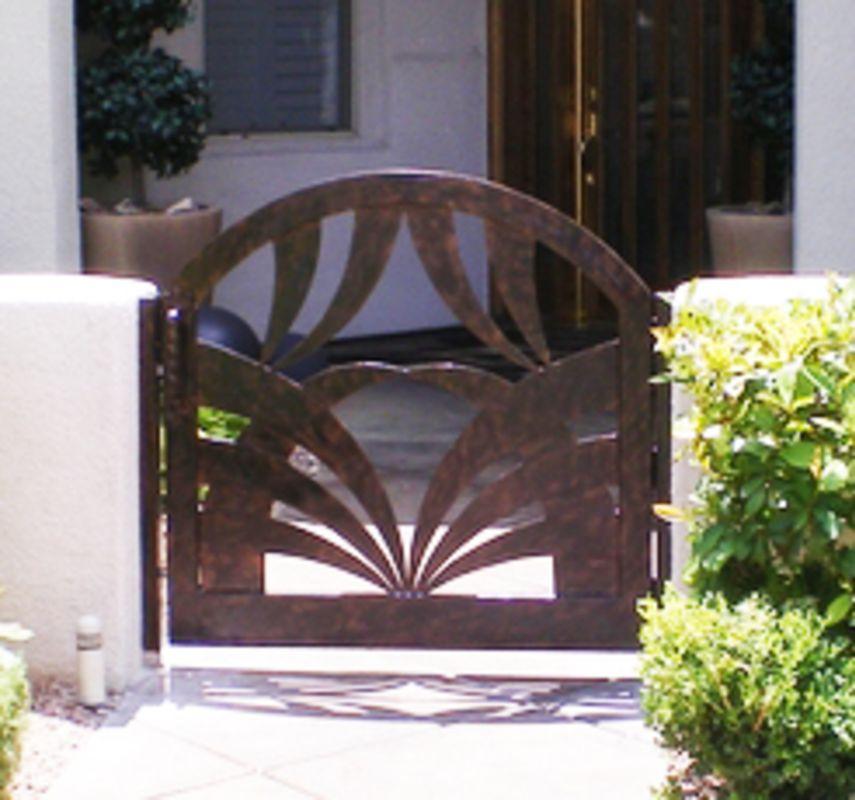 Plasma-Cut Single Gate - Item TunisaSG0342 Wrought Iron Design In Las Vegas