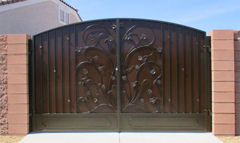 Nature Inspired Double Gate - Item VitigniDG0357 Wrought Iron Design In Las Vegas