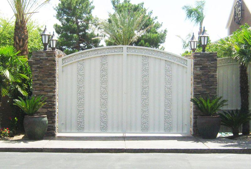 Traditional Double Gate - Item VivianDG0074 Wrought Iron Design In Las Vegas