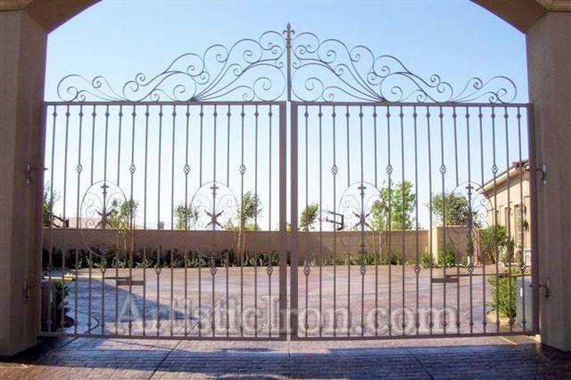 Scrollwork Double Gate - Item AbbeyDG0029 Wrought Iron Design In Las Vegas