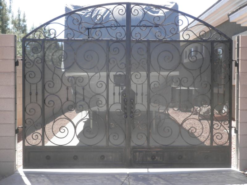 Scrollwork Double Gate - Item Biscay DG0086 Wrought Iron Design In Las Vegas