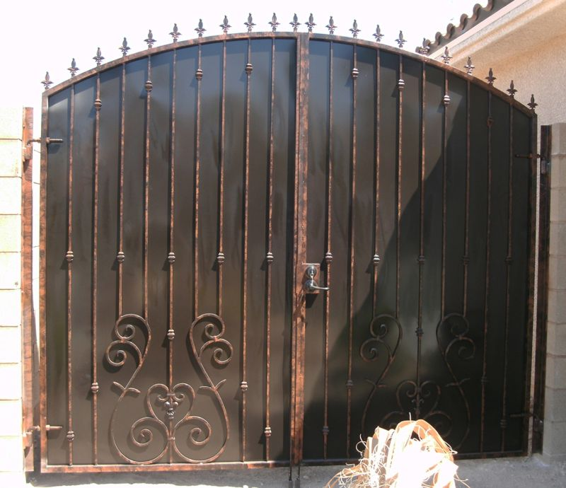 Traditional Double Gate - Item Biscay DG0123 Wrought Iron Design In Las Vegas