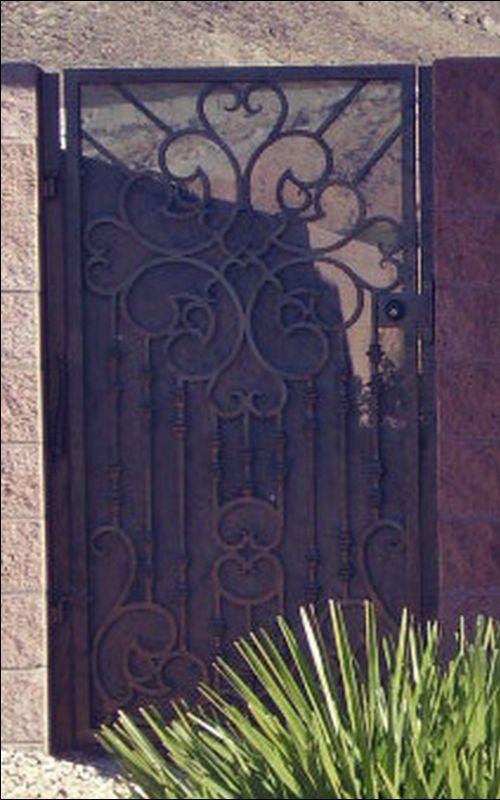 Scrollwork Single Gate - Item CloverSG0053 Wrought Iron Design In Las Vegas