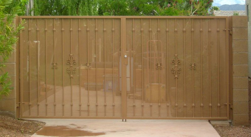 Econo-Line Double Gate - Item DG0073 Wrought Iron Design In Las Vegas