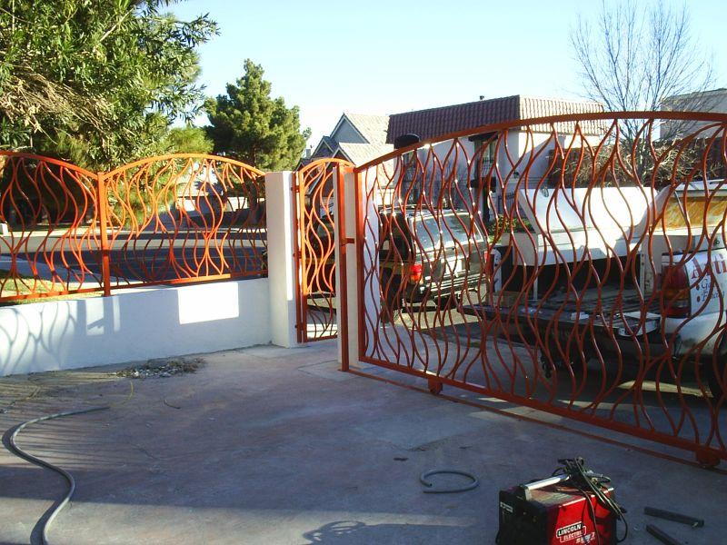 Modern Double Gate - Item FlameDG0096 Wrought Iron Design In Las Vegas