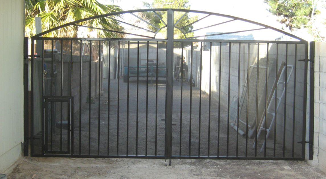 Gate With Pet Door Wrought Iron Design In Las Vegas