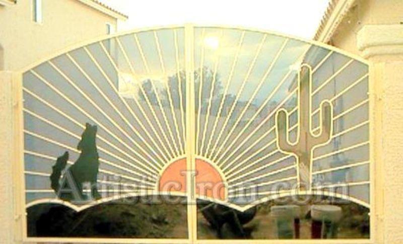 Plasma-Cut Double Gate - Item HowlinDG0007 Wrought Iron Design In Las Vegas