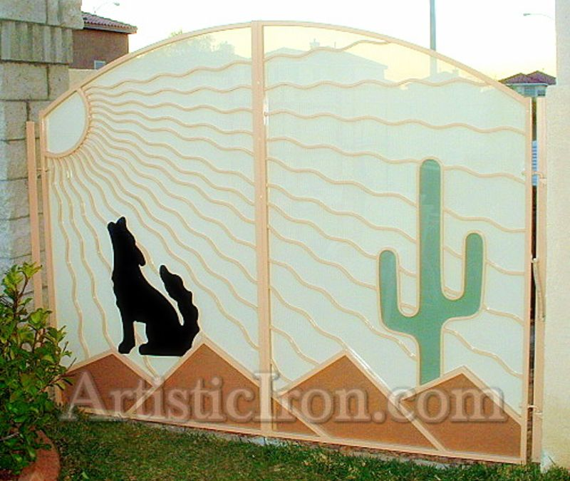 Nature Inspired Double Gate - Item HowlinDG0033 Wrought Iron Design In Las Vegas