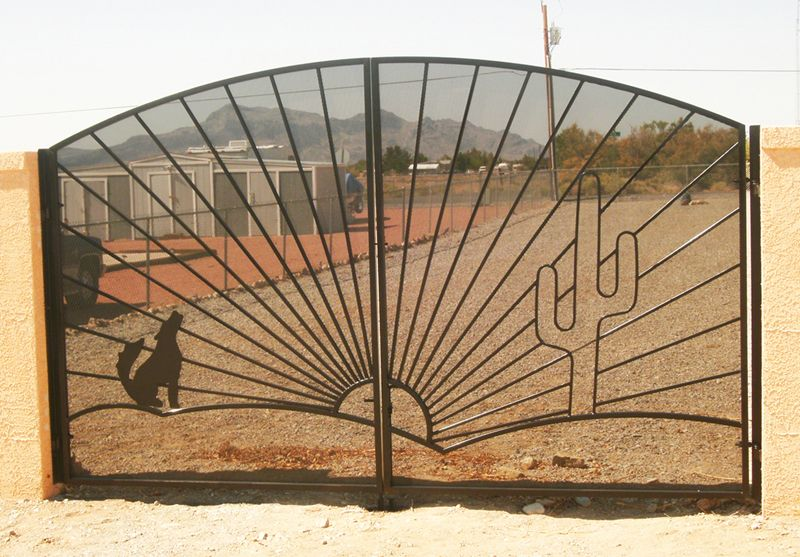 Nature Inspired Double Gate - Item Howlin DG0126 Wrought Iron Design In Las Vegas