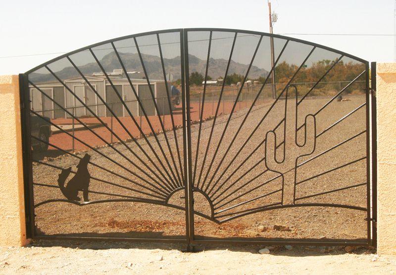Plasma-Cut Double Gate - Item HowlinDG0126 Wrought Iron Design In Las Vegas