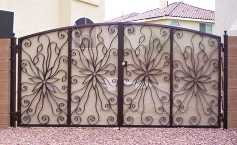 Nature Inspired Double Gate - Item Lotus DG0042 Wrought Iron Design In Las Vegas