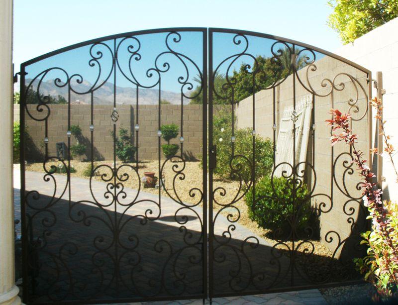 Scrollwork Double Gate - Item PapillionDG0120 Wrought Iron Design In Las Vegas