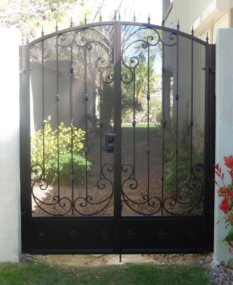 Scrollwork Double Gate - Item PapillionDG0338 Wrought Iron Design In Las Vegas