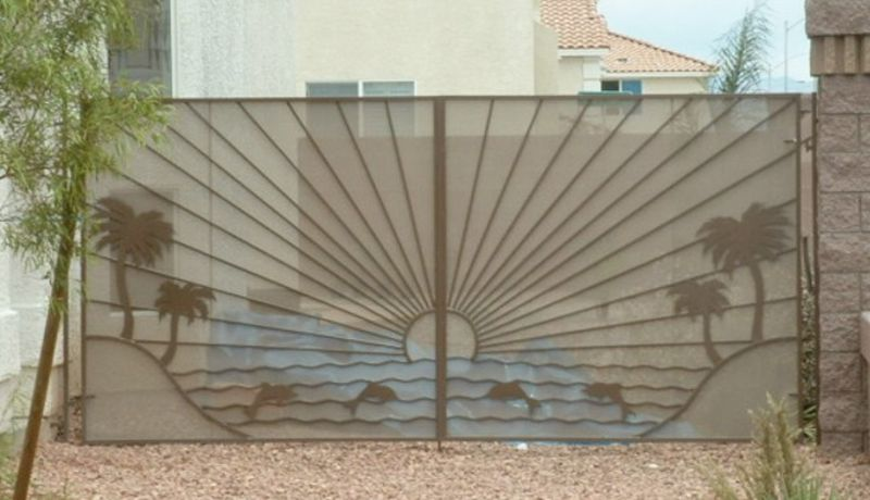 Modern Double Gate - Item Sandy BeachesDG0001A Wrought Iron Design In Las Vegas