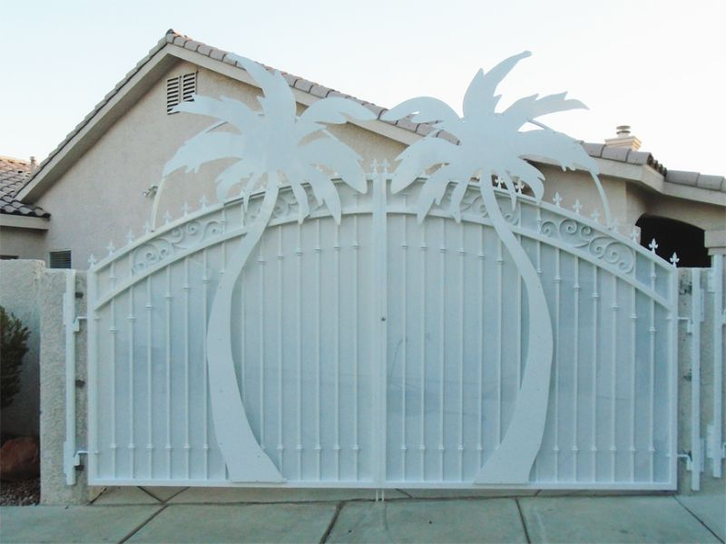 Plasma-Cut Double Gate - Item Sandy BeachesDG0352 Wrought Iron Design In Las Vegas
