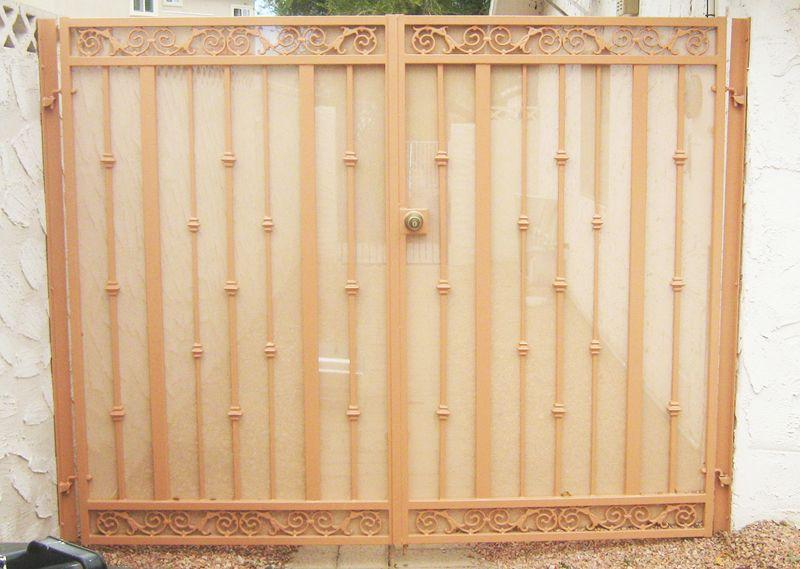 Traditional Double Gate - Item SantiagoDG0072 Wrought Iron Design In Las Vegas