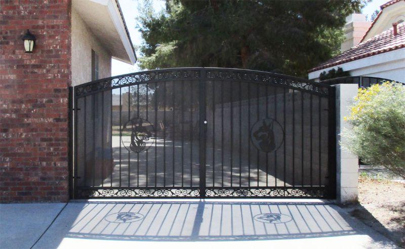 Plasma-Cut Double Gate - Item SantiagoDG0293C Wrought Iron Design In Las Vegas