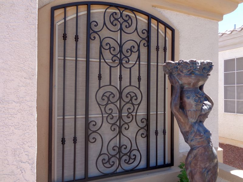 scrollwork Window Guard WG0113 Wrought Iron Design In Las Vegas