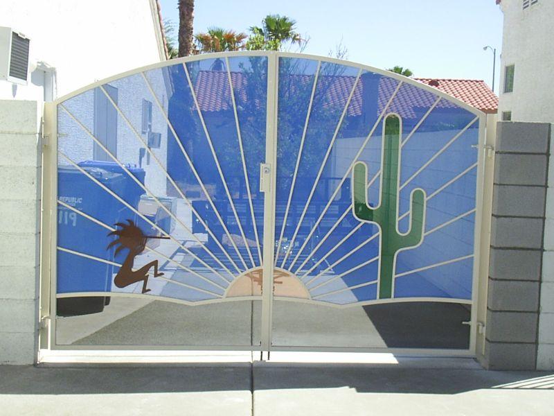 Nature Inspired Double Gate - Item SunburstDG0092 Wrought Iron Design In Las Vegas